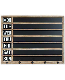Wood-Framed Wall Weekday Chalkboard with 5 Metal Hooks