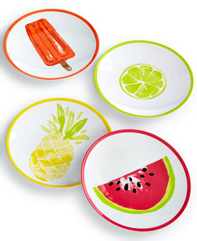 Martha Stewart Collection 4-Pc. Appetizer Plate Set, Created for Macy's