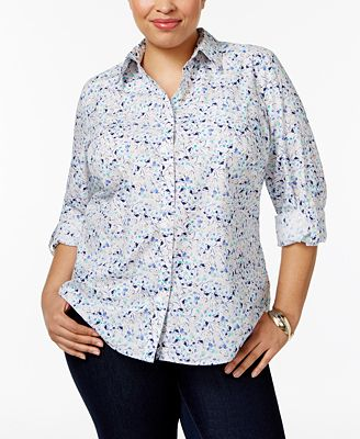 8ef07f77eadc6 Karen Scott Plus Size Cotton Printed Shirt