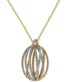 Duo by EFFY® Diamond Pendant Necklace (5/8 ct. t.w.) in 14k Gold and White Gold