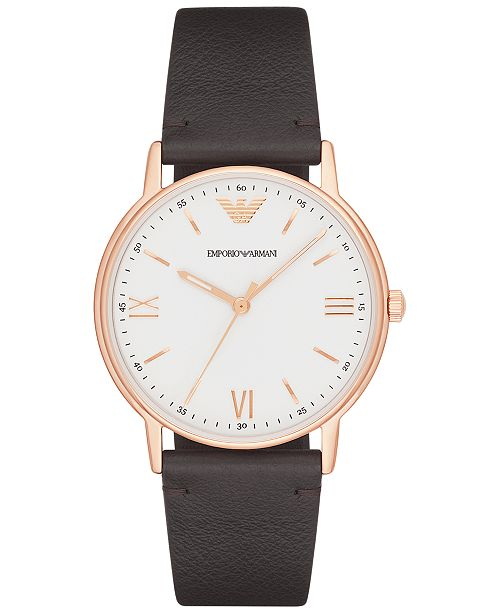 Emporio Armani Men's Brown Leather Strap Watch 43mm AR11011