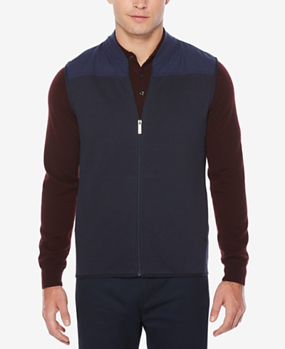 Perry Ellis Men's Mixed Media Vest