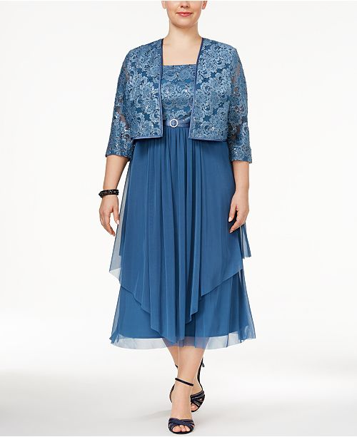 Plus Size Tiered A-Line Dress and Jacket