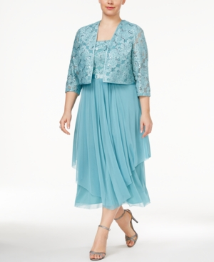 1920s Plus Size Dresses R  M Richards Plus Size Tiered A-Line Dress and Jacket $129.00 AT vintagedancer.com