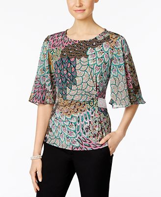 Msk Rhinestone Flutter Sleeve Evening Blouse Tops Women Macy S