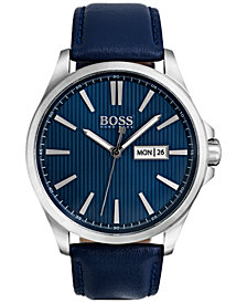 BOSS Hugo Boss Men's The James Blue Leather Strap Watch 42mm 1513465