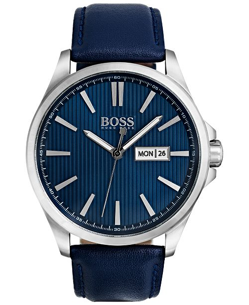 Hugo Boss Men's The James Blue Leather Strap Watch 42mm 1513465