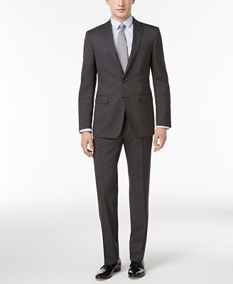 Calvin Klein Men's Slim-Fit Black Micro Pinstripe Suit - Suits ...