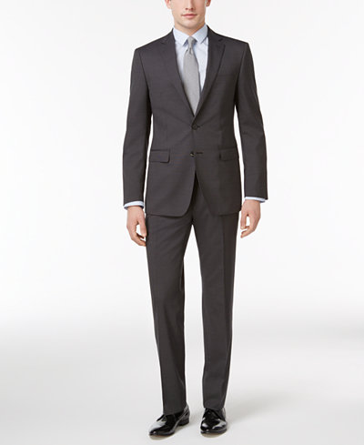 Calvin Klein Men's Slim-Fit Black Micro Pinstripe Suit - Suits ...
