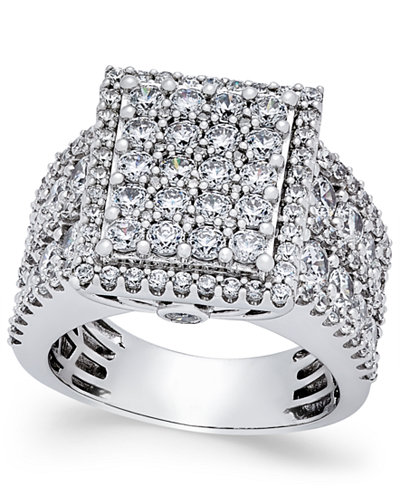 Diamond Square Cluster Engagement Ring (3 ct. t.w.) in 14k White Gold