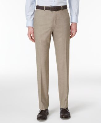 Men's Slim-Fit Traveler Light Brown Neat Pants, Created for Macy's