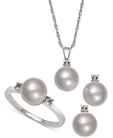 Cultured Freshwater Pearl (8mm) and White Topaz (1/4 ct. t.w.) Jewelry Set in Sterling Silver