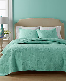 CLOSEOUT! Martha Stewart Collection  100% Cotton Atlantic Palm Quilt and Sham Collection, Created for Macy's