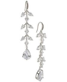 Carolee Silver-Tone Crystal Linear Drop Earrings