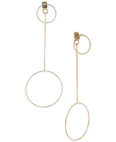 ABS by Allen Schwartz Gold-Tone Circle Drop Front and Back Earrings