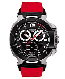 Tissot Men's Swiss Chronograph T-Race Red Rubber Strap Watch 50.26x45.3mm T0484172705701