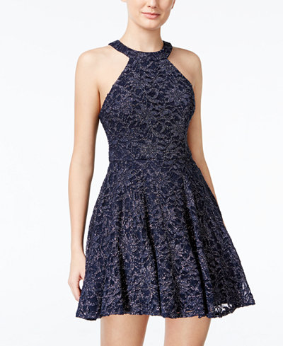 B Darlin Juniors Glitter Lace Fit Amp Flare Dress Juniors