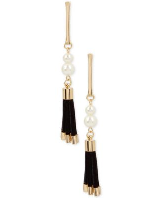 Image of INC International Concepts Gold-Tone Imitation Pearl Faux Suede Drop Earrings, Only at Macy's