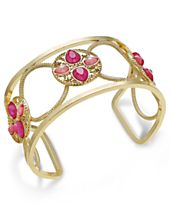 INC International Concepts Gold-Tone Pink Stone Openwork Cuff Bracelet, Created for Macy's