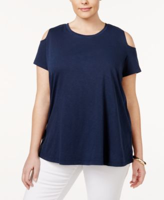 Style & Co Plus Size Cotton Cold-Shoulder Top, Only at Macy's