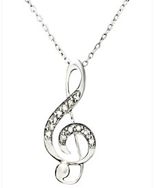 Diamond Pendant Necklace, Sterling Silver Diamond Music Note (1/10 ct. t.w.)