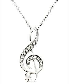 Diamond Pendant Necklace, Sterling Silver Diamond Music Note (1/10 ct. t.w.)