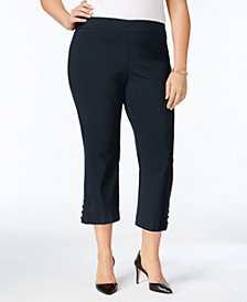 JM Collection Plus Size Lattice-Trimmed Capri Pants, Created for Macy's