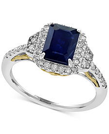 Royalé Bleu by EFFY® Sapphire (1-1/2 ct. t.w.) and Diamond (3/8 ct. t.w.) Ring in 14k Gold, Created for Macy's and White Gold, Created for Macy's