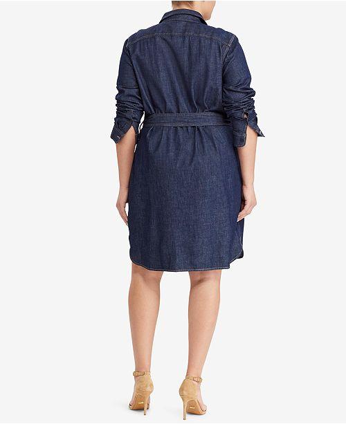 Lauren Ralph Lauren Plus Size Cotton Denim Shirtdress Dresses