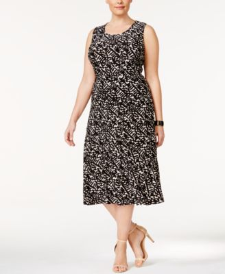 JM Collection Plus Size Jacquard Tank Top & Midi Skirt, Only at Macy's