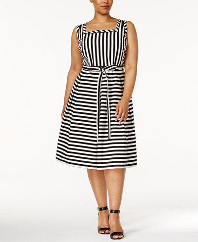 Anne Klein Plus Size Striped Fit & Flare Dress