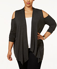 Belldini Plus Size Cold-Shoulder Cardigan