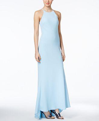 Calvin Klein Crepe Halter Gown Dresses Women Macys