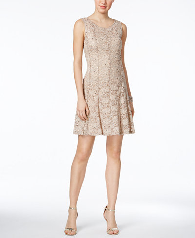 Connected Petite Sequined Lace Fit & Flare Dress