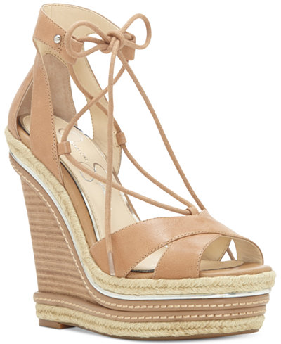 Jessica Simpson Adyson Lace-Up Wedge Sandals - Sandals - Shoes ...