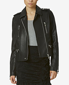 Avec Les Filles Stretch Leather Moto Jacket