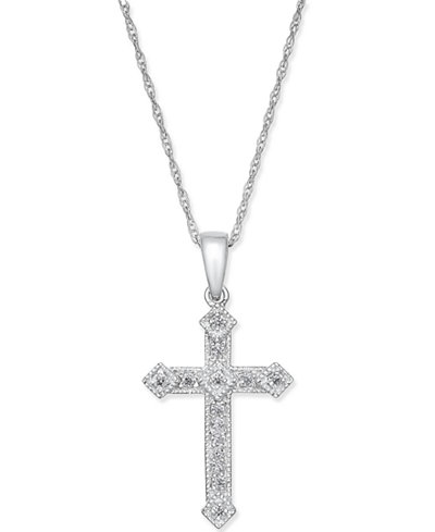 Diamond Cross Pendant Necklace (1/10 ct. t.w.) in 14k Gold or White Gold