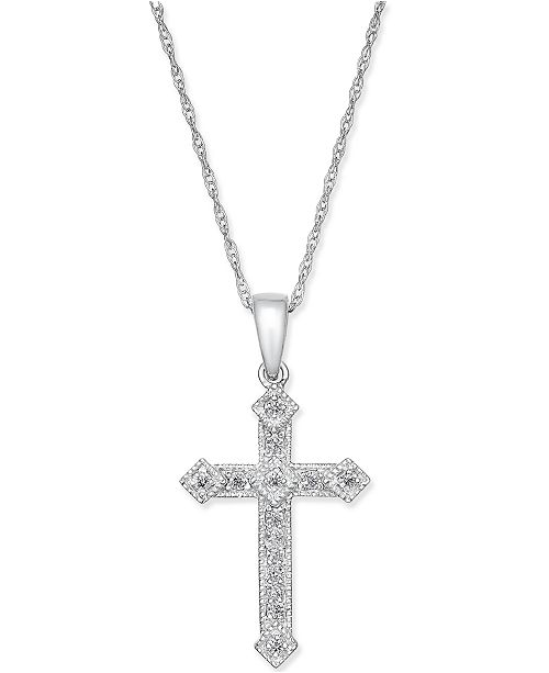 Macy's Diamond Cross Pendant Necklace (1/10 ct. t.w.) in 14k Gold or White Gold