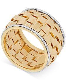 Italian Gold Basket Weave Ring in Italian 14k Gold & White Gold