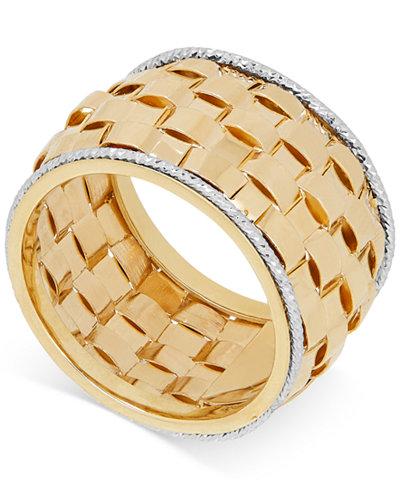 Italian Gold Basket Weave Ring In 14k White
