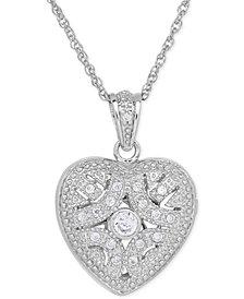 Cubic Zirconia Heart Locket Pendant Necklace in Sterling Silver