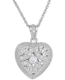 Cubic Zirconia Heart Locket Pendant Necklace in Sterling Silver