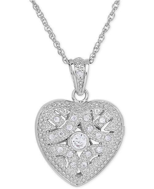 Macy's Cubic Zirconia Heart Locket Pendant Necklace in Sterling Silver