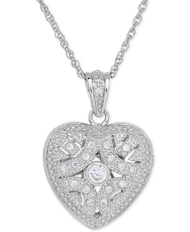 Macy's Cubic Zirconia Heart Locket Pendant Necklace in Sterling Silver