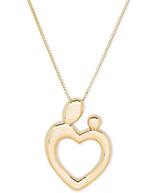 Mother-Themed Heart Pendant Necklace in 10k Gold