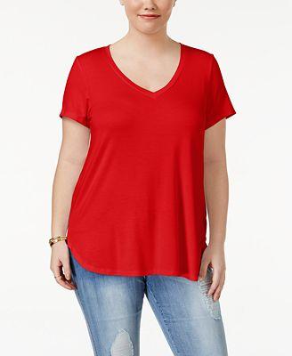 Celebrity Pink Trendy Plus Size V-Neck T-Shirt - Tops - Plus Sizes ...