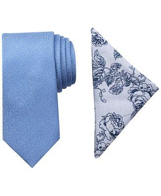 Tallia Men's Bedford Solid Slim Tie & Pocket Square Set