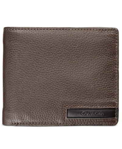 Calvin Klein Men's Pebble-Leather Money Clip Billfold & Keychain Set