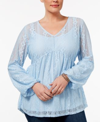 NY Collection Plus Size Lace Empire-Waist Top