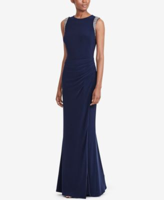 Ralph lauren navy blue dress formal slit